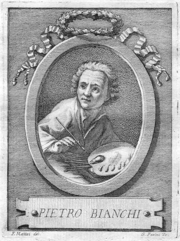 Pietro Bianchi - Pietro Bianchi Maler painter Portrait Italien Italia Kupferstich copper engraving antique pri