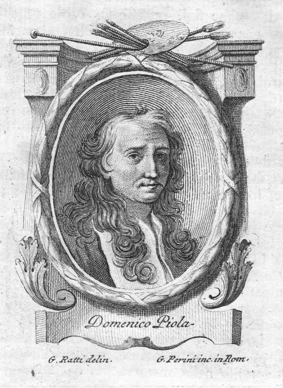 Domenico Piola - Domenico Piola Maler painter Portrait Italia Italien Kupferstich copper engraving antique pri
