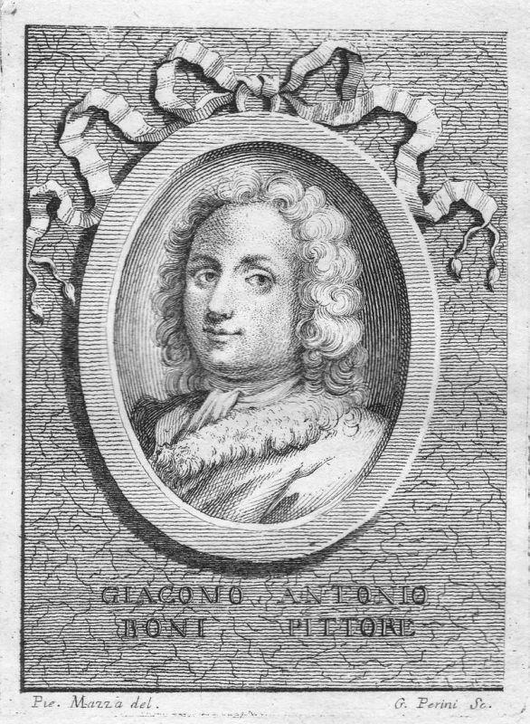 Giacomo Antonie Boni Pittore - Giacomo Boni Maler painter Portrait Italien Italia Kupferstich copper engraving
