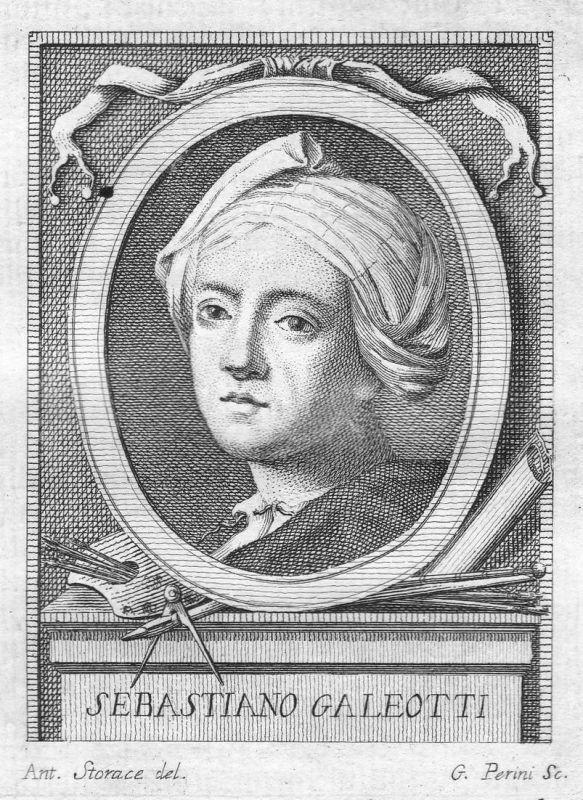 Sebastiano Galeotti - Sebastiano Galeotti Maler painter Portrait Italien Italia Kupferstich copper engraving a
