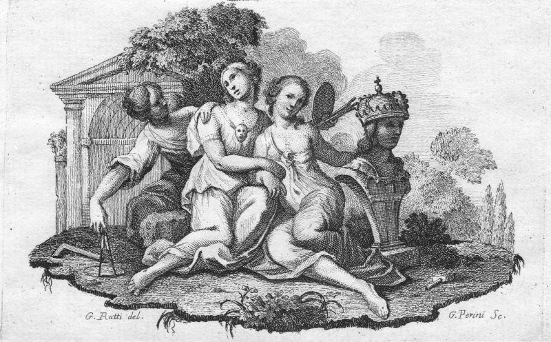 Frauen women Statue statue Kunst art Guilio Perini Carlos Giuseppe Ratti Kupferstich copper engraving antique