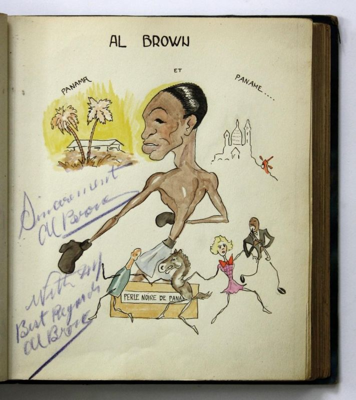 Manuscript album with 59 watercolour caricatures of famous international boxers and wrestlers from the 1930s a