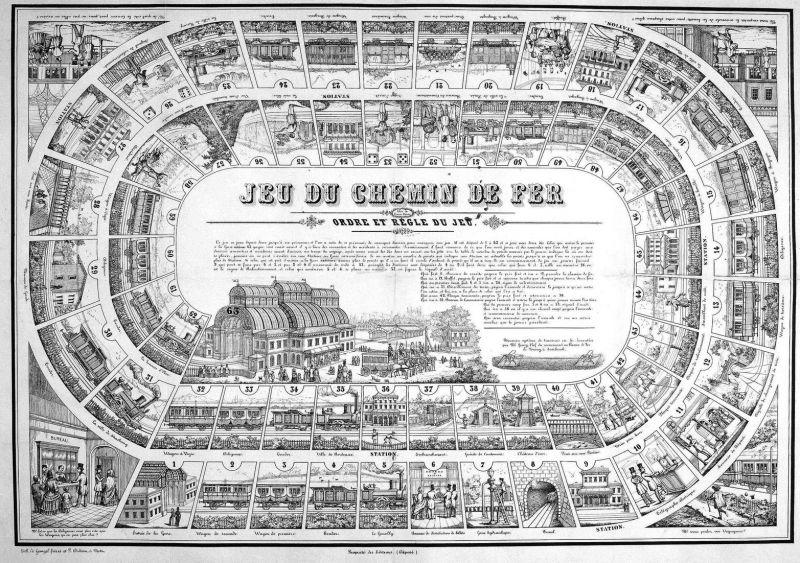 Jeu du chemin de fer - Early railroad board game Eisenbahn Spiel jeu de chemin de fer jeu alte Spiele antique