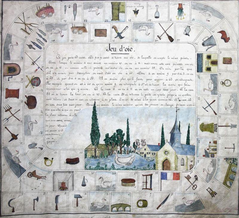 Jeu de l'oie - Manuscript game board Game of the Goose jeu de l'Oie Spiel jeu alte Spiele antique games