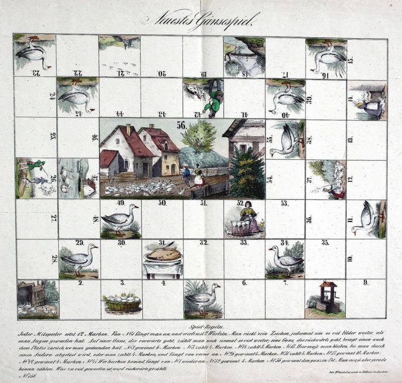 Neuestes Gänsespiel - Gänsespiel Game of the Goose jeu de l'Oie board game Spiel jeu alte Spiele antique games