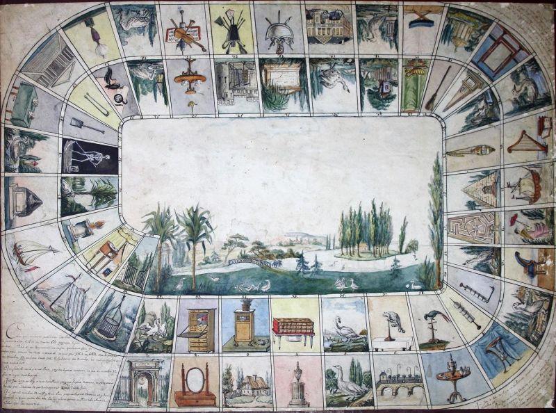 Manuscript board game - board game Game of the Goose jeu de l'Oie Spiel jeu alte Spiele antique games