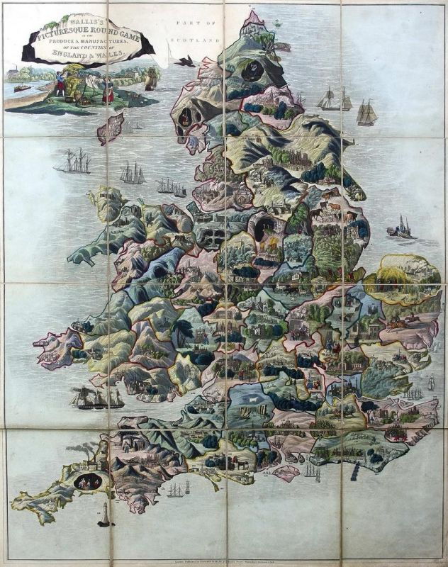 Wallis's picturesque round game of the produce & manufactures of the counties of England and Wales - geographi