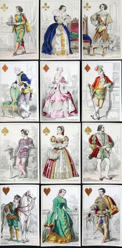 Cartes Parisiennes - Historical Costume Trachten costumes Paris mode playing cards Spielkarten cartes a jouer