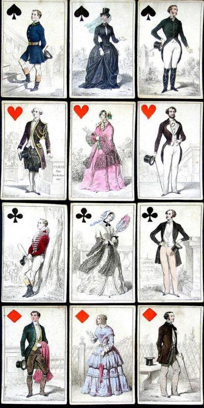 Jeu des costumes Parisiens or Jeu des Modes - Costume Trachten costumes Paris mode playing cards Spielkarten c