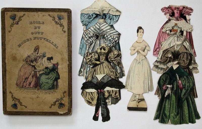 Ecole du gout modes nouvelles - dress-up game Biedermeier fashion Paper doll Puppe Spiel jeu alte Spiele antiq