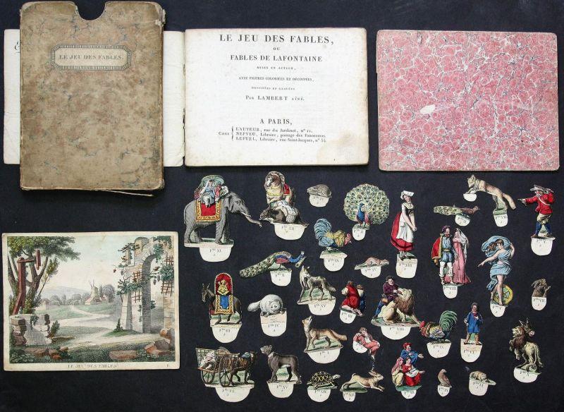 Le jeu des fables ou fables de Lafontaine mises en action, avec ficgures coloriées et découpées, dessinées et