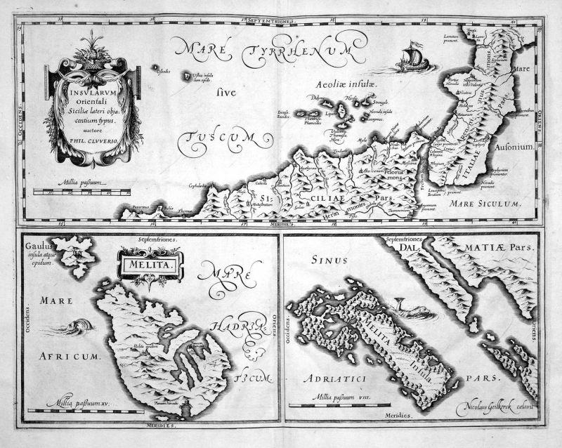 Insularum Orientali Siciliae lateri objacentium typus - Malta Mljet Croatia Sicilia Sicily Karte map Kupfersti