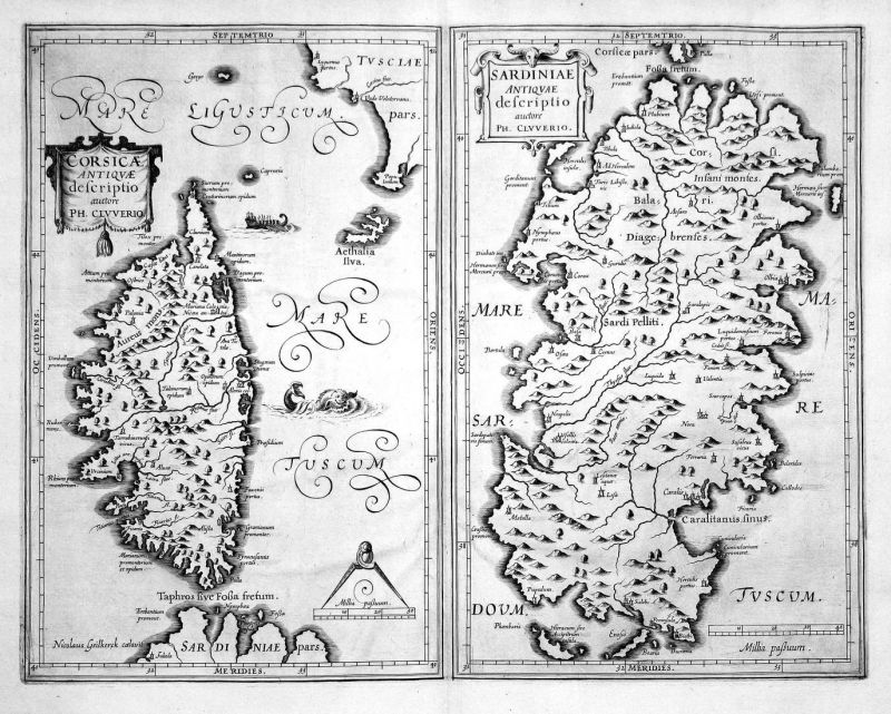 Corsicae Antiquae / Sardiniae Antiquae - Corse Corsica Sardinia Sardegna Karte map Kupferstich copper engravin