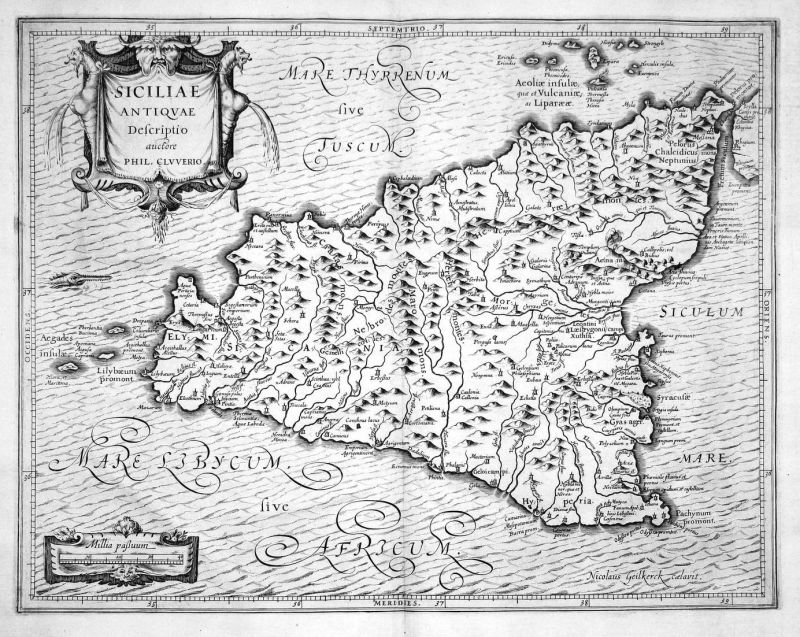 Siciliae Antiquae - Sizilien Sicilia Sicily Karte map Kupferstich copper engraving antique print