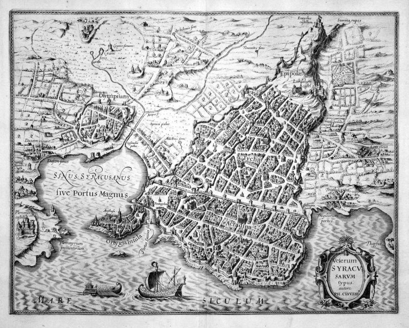 Veterum Syracusarum - Syrakus Siracusa Sicilia Sicily Sizilien Karte map Kupferstich copper engraving antique