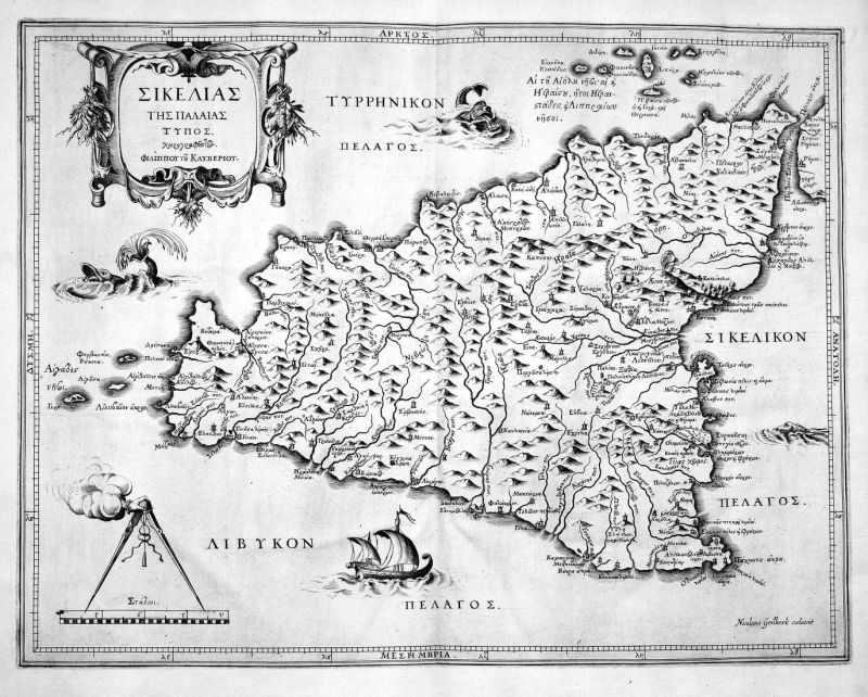 Sicilia Sizilien Clüver Philipp Karte map Kupferstich copper engraving antique print