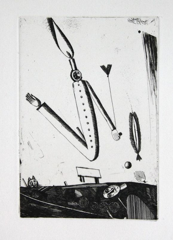 Kerzenfigur - Christoph Meckel Radierung etching
