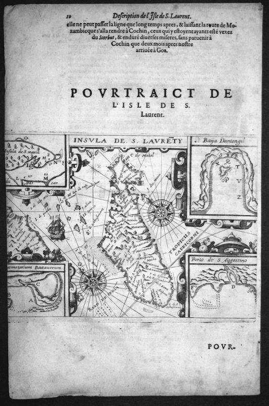 Pourtraict de l'Isle de S. Laurent - Madagaskar Madagascar Karte map Kupferstich copper engraving Linschoten a