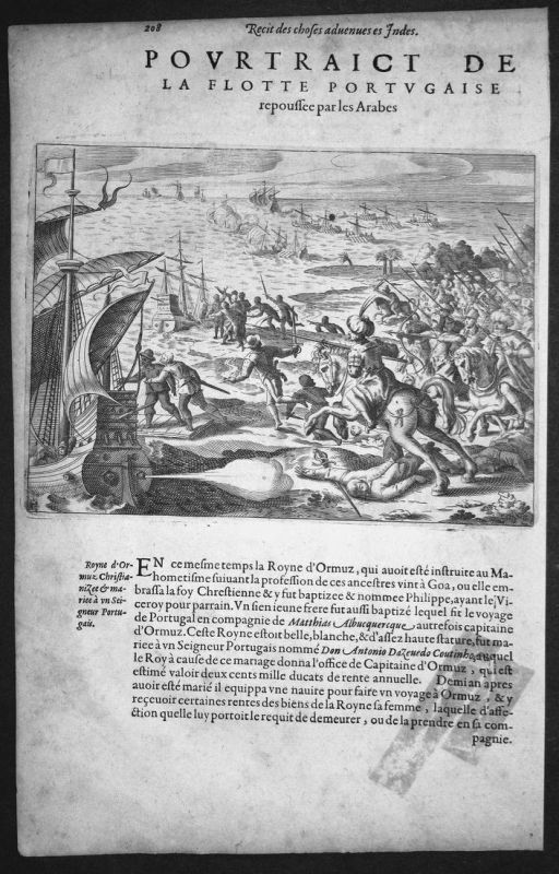 Pourtraict de la Flotte Portugaise repoussee par les Arabes - Indien India Araber Arabs Portugiesen Portuguese