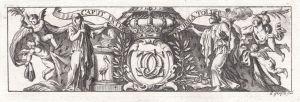 Caput inter Nubila Tollit - Engel angels Krone crown Ornament ornament Kupferstich copper engraving antique pr