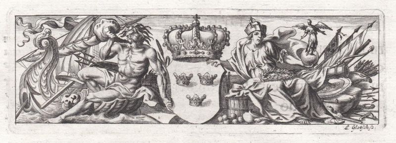 Männer men Schiff ship Waffen weapons Krone crown Ornament ornament Kupferstich copper engraving antique print