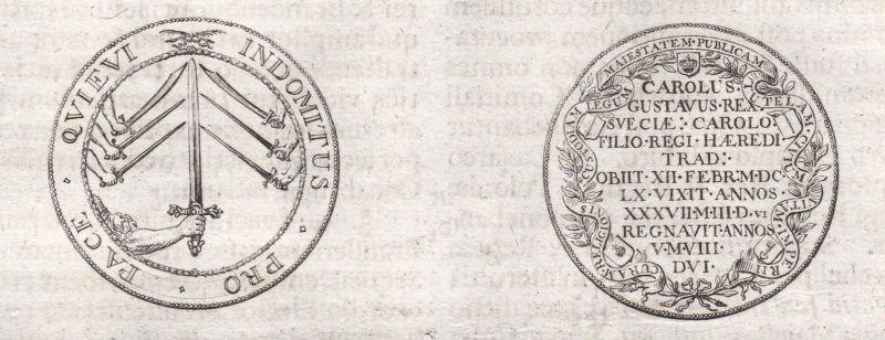 Indomitus pro pace Quieui .. - Münze Münzen coins coin Kupferstich copper engraving antique print