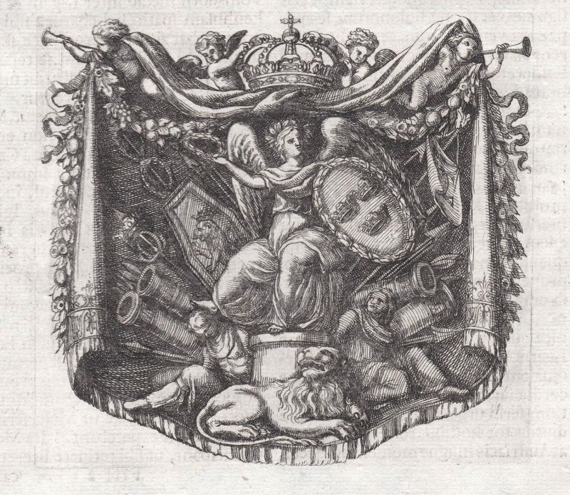 Engel angel Löwe lion Waffen weapons Krone crown Ornament ornament Kupferstich copper engraving antique print