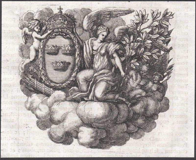 Engel angels Kronen crowns Wolken clouds Ornament ornament Kupferstich copper engraving antique print