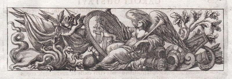 Frau woman Waffen weapons Schlangen snakes Ornament ornament Kupferstich copper engraving antique print