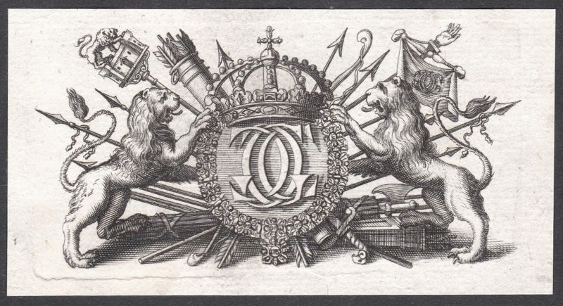 Kupferstich Ornament ornament Waffen weapons Löwen lions copper engraving antique print