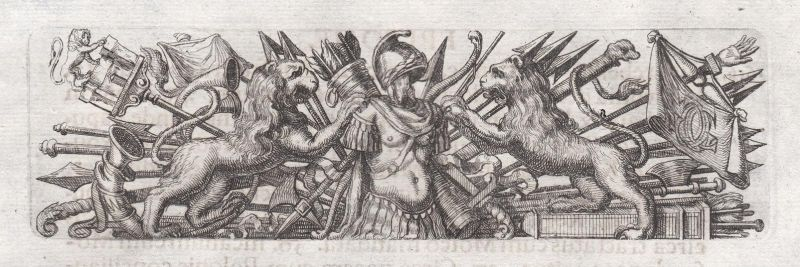 Krieger warrior Löwen lions Waffen weapons Ornament ornament Kupferstich copper engraving antique print