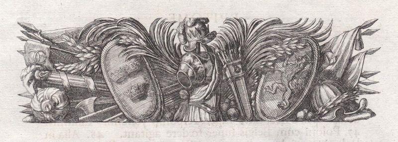 Waffen weapons Rüstung armor Kronen crowns Ornament ornament Kupferstich copper engraving antique print