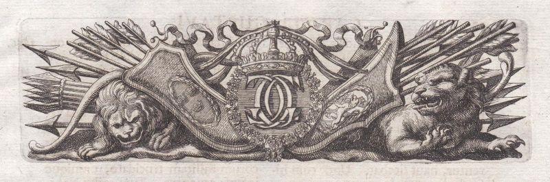 Waffen weapons Löwen lions Krone crown Ornament ornament Kupferstich copper engraving antique print