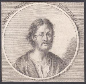 Raphael Sanzio d'Urbino - Raffaello Sanzio da Urbino Maler painter Portrait Italien Italia Kupferstich copper