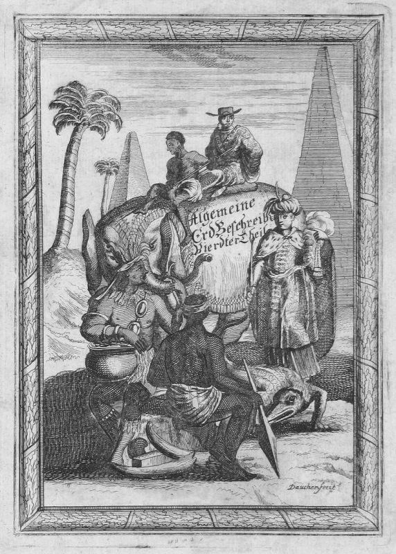 Algemeine Erdbeschreibung - Vierdter Theil - Titel Titelblatt title Völker people Kostüme costumes Kupferstich