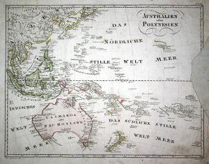 Australien oder Polynesien - Australien Australia Polynesien Polynesia Karte map Kupferstich copper engraving