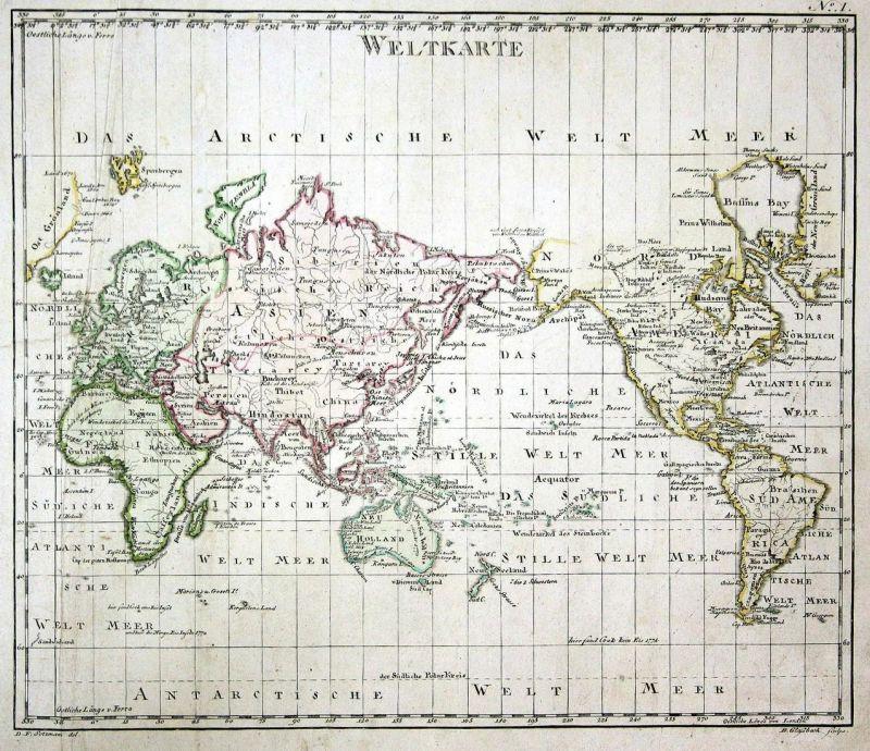 Karte Europa Asien.Weltkarte World Map Weltkarte Asien Asia Amerika America Europa Europe Karte Kupferstich Copper Engraving An