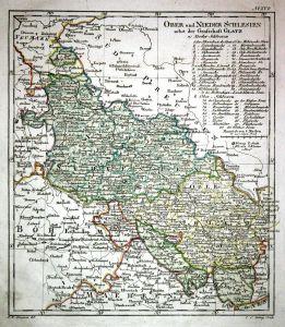 Ober und Nieder Schlesien nebst der Grafschaft Glatz - Schlesien Silesia Polen Polska Poland Karte map Kupfers
