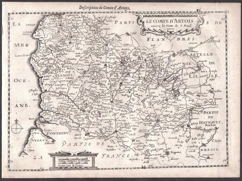 Le Comte d'Artois auecq le Com. de S. Paul - Cambrai Arras Frankreich France Colom Holland Nederland map carte