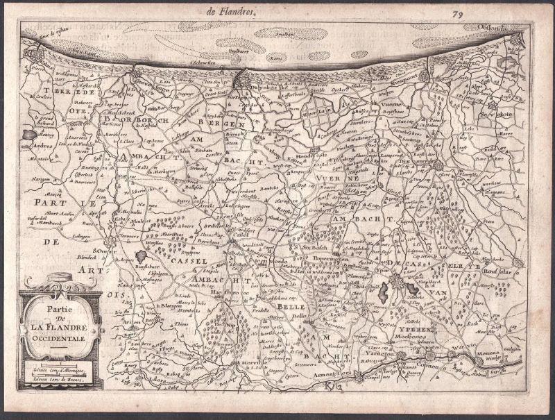 Partie de la Flandre Occidentale - Vlaanderen Flandern Flandre Belgien Belgique Colom Holland Nederland map ca