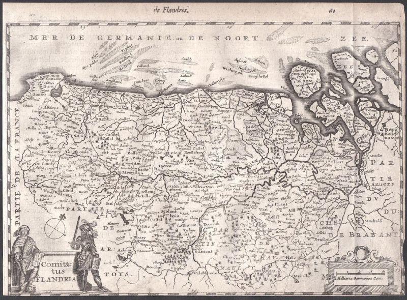 Comitatus Flandria - France Frankreich Belgique Belgien Colom Holland Nederland map carte