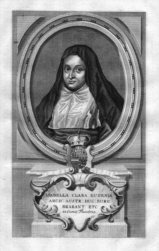 Isabel Clara Eugenia de Austria Espana Portrait Kupferstich engraving 0