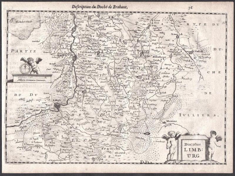 Ducatus Limburg - Limbourg Lüttich Maastricht Valkenburg Aachen Colom Holland Nederland map carte