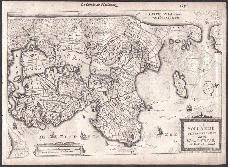 La Hollande Septentrionale autrem West-Frise - Beemster Wormerveer Purmerend Hoorn Colom Holland Nederland map