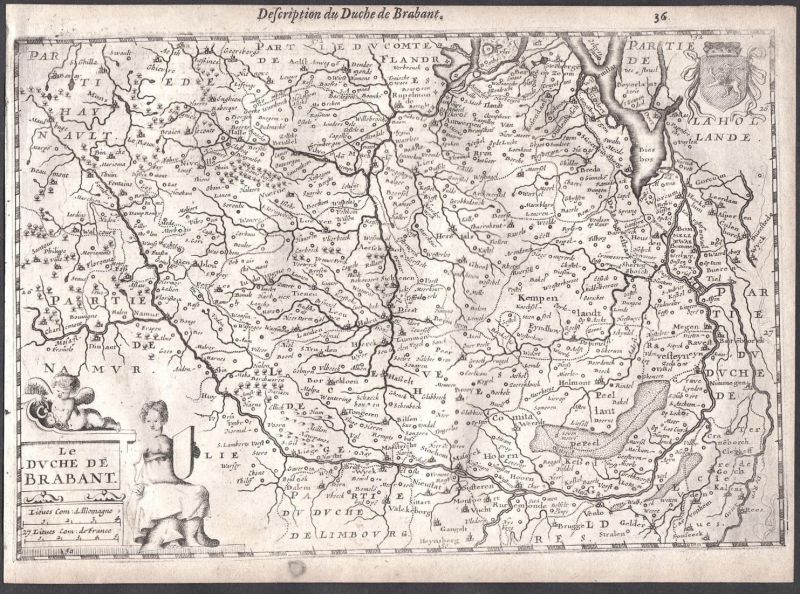 Le Duche de Brabant - Maastricht Hasselt Genk Beögique Belgien Colom Holland Nederland map carte