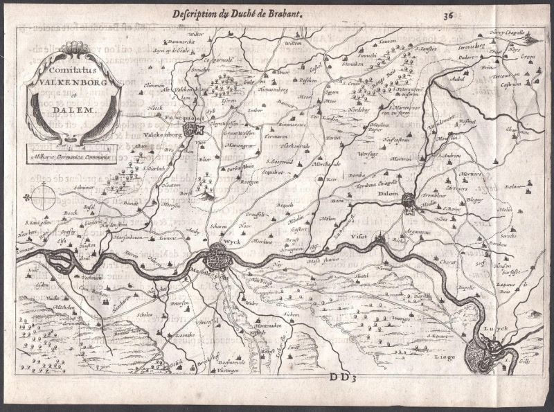 Comitatus Valkenborg et Dalem - Maastricht Wyck Valkenburg Dalhem Lüttich Colom Holland Nederland map carte 0