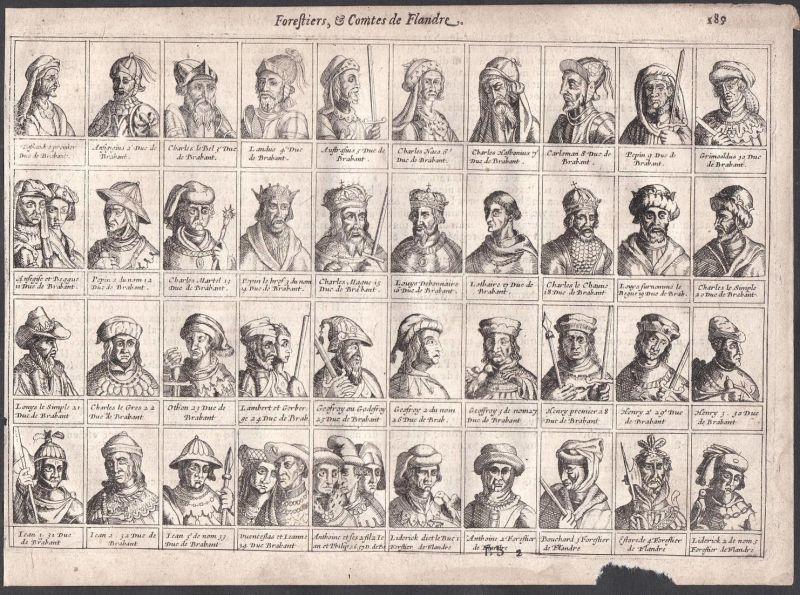 Forestiers, & Comtes de Flandre - Grafen earls Förster ranger Flandern Belgien Belgique Colom Nederland map ca 0
