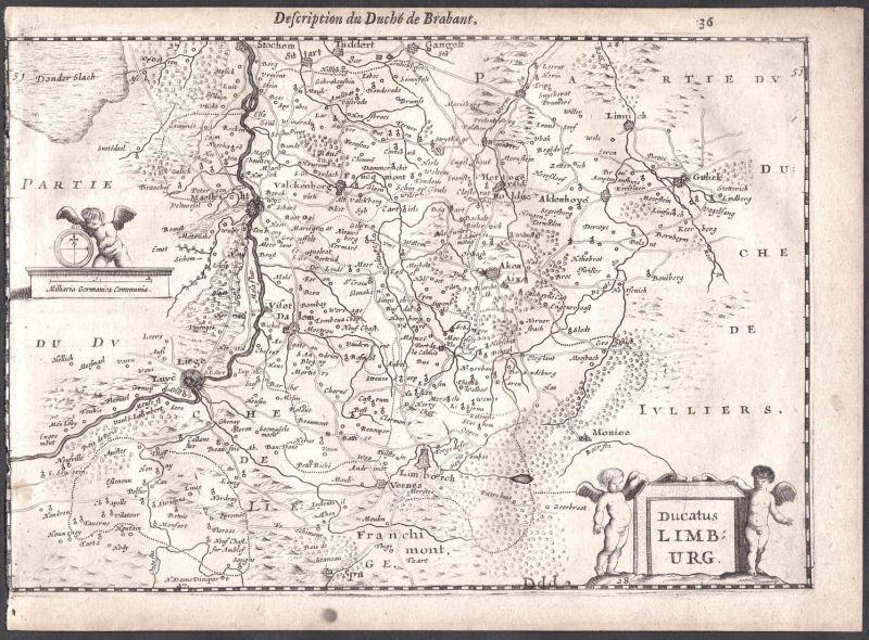 Ducatus Limburg - Lüttich Liège Maastricht Aldenhoven Limbourg Aachen Colom Holland Nederland map carte