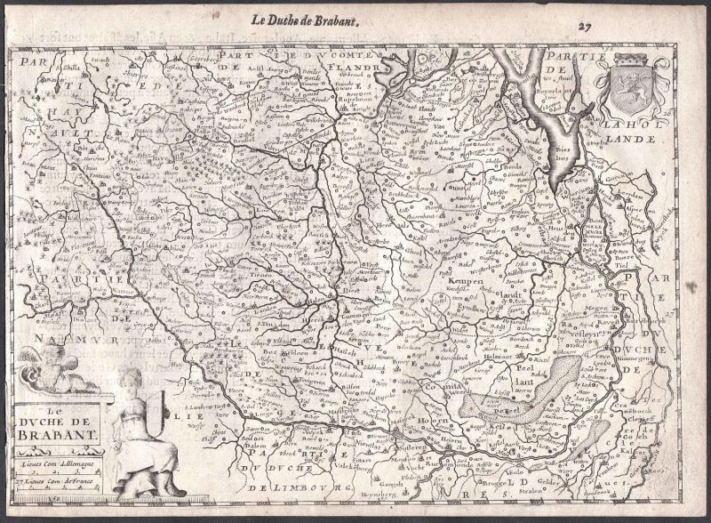 Le Duche de Brabant - Hasselt Beringen Genk Kempen Maastricht Colom Holland Nederland map carte