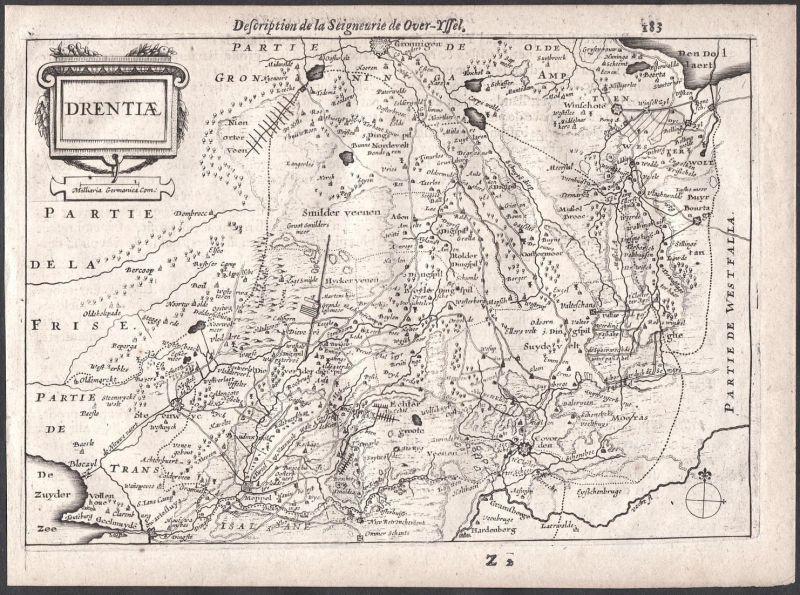 Drentiae - Assen Emmen Drenthe Drente Meppel Colom Holland Nederland map carte
